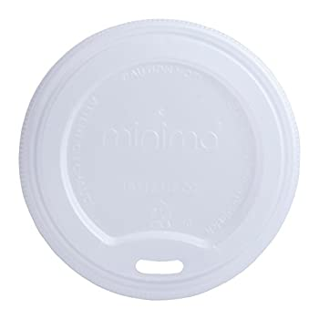 Image of Minima 1000 Count of Compostable Hot Cup Lids – Fits Minima 10 oz/12 oz/16 oz Hot Cups. BPI-CERTIFIED Compostable certified Lids. Disposable Drinkware