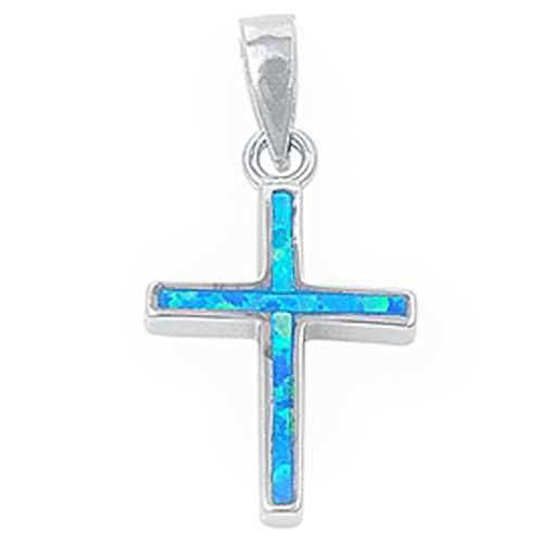 Oxford Diamond Co Lab Created Opal Cross Charm .925 Sterling Silver Pendant Colors Available! (Lab Created Blue Opal)