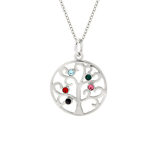 Sterling Silver Custom 5 Stone Simulated Birthstone Family Tree Pendant (16