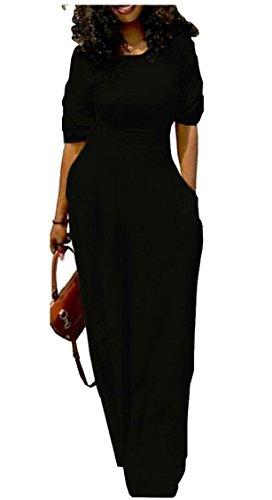 Fit Jaycargogo Black Womens Long Loose Sleeve Short Side Pocket Dress 4YqUCw4