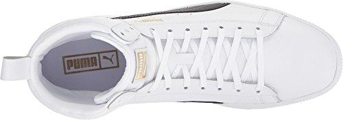 Puma Clyde Mid Core Folie Herren Schwarz Leder High Top Lace Up Sneakers Schuhe Puma Weiß / Puma Schwarz