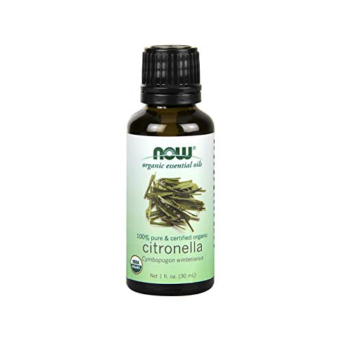 NOW Essential Oils, Organic Citronella Oil, Purifying Aromatherapy Scent, 100% Pure, Steam Distilled, Vegan, 1-Ounce