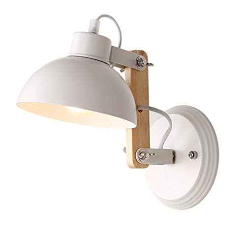 HDZWW Modern LED Wall Light | Bathroom Wall Fitting | Adjustable Spotlight | Push Button Switch| 5 Watt | 400 Lumen | Warm White Light Colour | Study Lighting Fixtures(Color : White)
