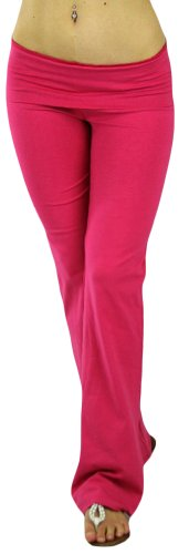ToBeInStyle Women's Low Rise Sweatpants w/Fold-Over Waistband - Medium - Fuschia Pink