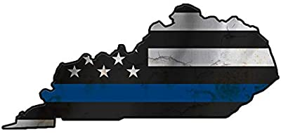 Thin Blue Line Police State of Kentucky Laser CutOut Metal Sign 17Wx8H.