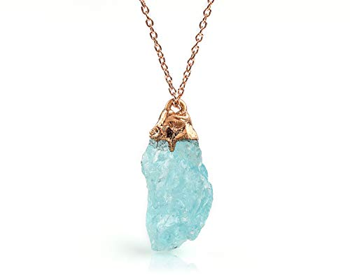 Raw Aquamarine Gemstone Crystal Pendant Necklace| Jewelry For Women| Electroformed Necklace Pendant| Aquamarine Pendant Necklace| March Birthstone| 14K Rose Gold Fill 925 Sterling Silver Necklace