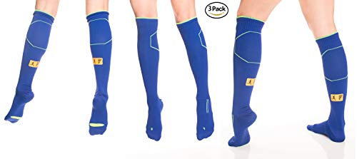 Nike Puma Reebok - Pars Compression Socks for Men Women 20 30 mmHg Best Graduated Athletic Fit for Running, Nurses, Shin Splints, Flight Travel & Maternity Pregnancy - Boost Stamina 3 Pairs (Blue, Medium)