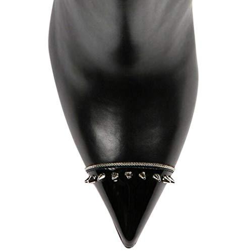 Pointu Shiney Noires sur Rivets Fait Femmes Stiletto De Commande Chaussures Modèle Grande Chaussures Taille Bottes Black Habillées Cheville CWC75UcFxn
