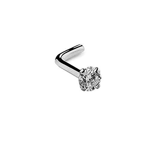 FreshTrends VS1-2mm (.03 ct.) Diamond 950 Platinum Nose Ring L Post - 20G