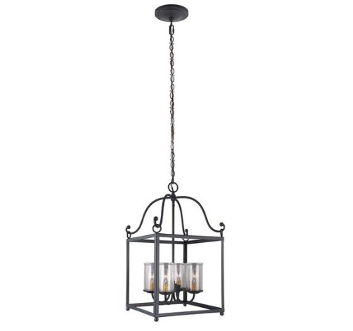 Feiss F2907/4AF Declaration 4-Light Pendant Fixture, Antique Forged Iron - Four Light Pendant Finish