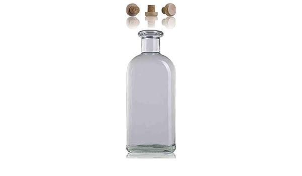 Botella Cuadrada Frasca 1 Litro Cristal Vidrio Tapón Madera: Amazon.es: Hogar