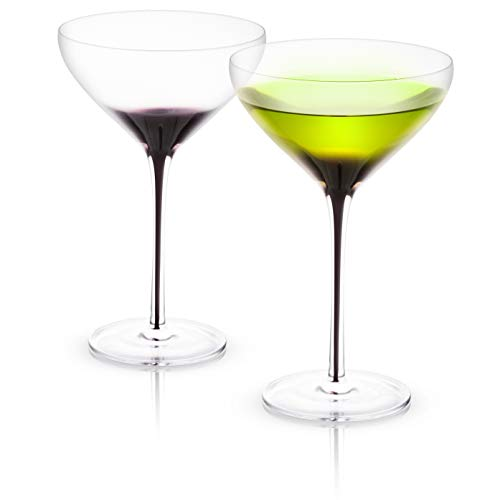 (JoyJolt Black Swan Stemmed Martini Glasses, Premium Lead Free Crystal Glassware, 10.5 Oz Capacity, Set Of 2)