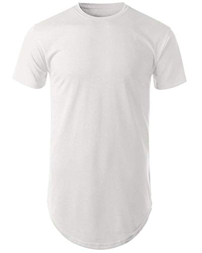 Mens Hipster Hip Hop Basic Long T-Shirt with Zipper Trim (1rd03_White, Large)