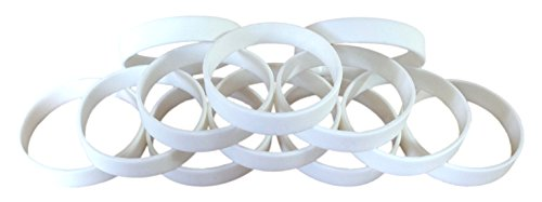 1 Dozen Multi-Pack WHITE Wristbands Bracelets Silicone Rubber - Select from a Variety of Colors (White, Adult (8