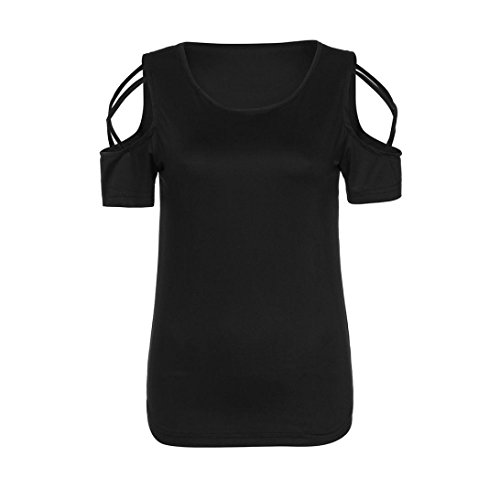 Sleeve Loose Blouse Women Shoulder 2XL Cut S Tops Out Teen O Black Tunic T Neck Shirts Short Girls Cold Quistal vSnP6qww