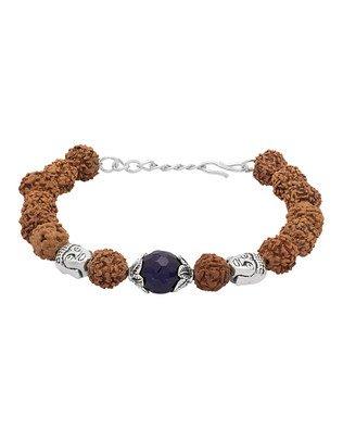 Voylla Lord Buddha with Blue Beads & Rudraksha Bracelet