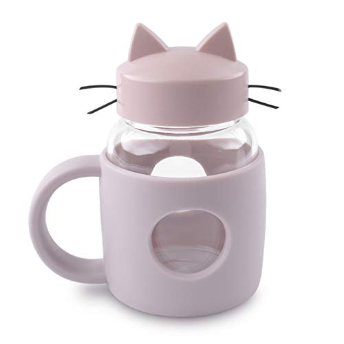 Handmade Glass Crazy Cat lovers Tea Cup or Coffee Kawaii Mug with Tail Handle, Cute Portable Teacup, 300ml 10oz Glass Mason Jar with Lid and High Heat Resistance