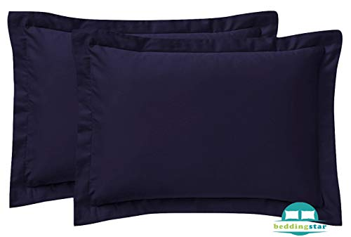 Standard Pillow Shams Set of 2 Luxurious and Soft - Genuine 600 Thread Count 100% Pure Egyptian Cotton Navy Blue Pillow Shams Standard Size 20X26 Decorative Pillow Cover With 2 Inch Border