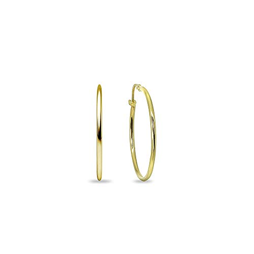 14K Yellow Gold Small 15mm Round Unisex Click-Top Hoop Earrings (2/3