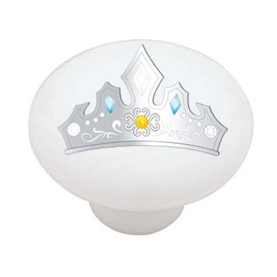 Silver Princess Crown Decorative High Gloss Ceramic Drawer Knob (Princess Drawer Pull)