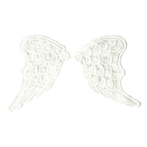Da.Wa Embroidery White Angel Wings Patch Sew Iron On Badge Bag Clothes Fabric Patches Applique DIY Sewing Craft