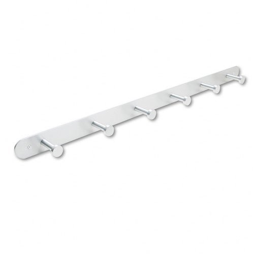 Safco : Nail Head Wall Coat Rack, Six Hooks, Metal, Satin Aluminum -:- Sold as 2 Packs of - 1 - / - Total of 2 Each (Coat Satin One)