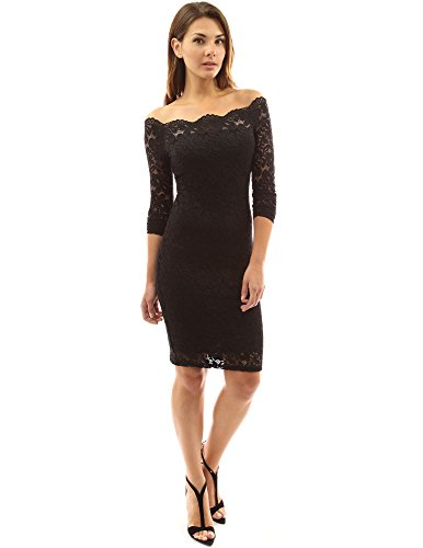 PattyBoutik Womenâ€s Off Shoulder Twin Set Floral Lace Dress (Black XL)