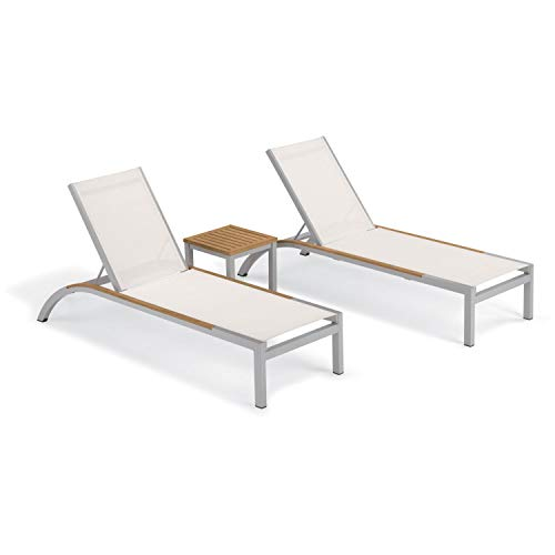 (Oxford Garden Argento 3 -Piece Chaise and Travira End Table Set - Powder Coated Aluminum Frame - Tekwood Natural Table Top - Tekwood Natural Side Rails Natural Sling)
