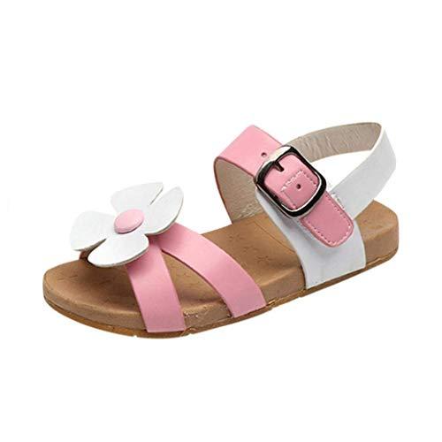 Little Girls Flowers Roman Sandals Princess Shoes(Pink-2.5T) ()