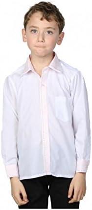 Camisa blanca Niño Cuello bicolor rosa y diseño blanco 12 Años : Amazon.es: Ropa y accesorios