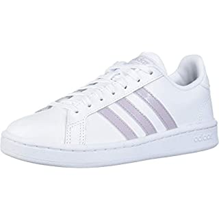 adidas Women's Grand Court Track and Field Shoe, ftwr white/mauve/grey two, 5 Standard US Width US