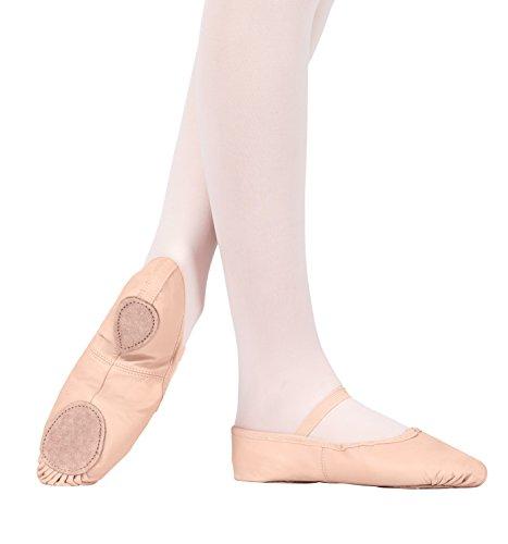 Child Leather Split-Sole Ballet Shoes,T2700CPNK01.0M,Pink,01