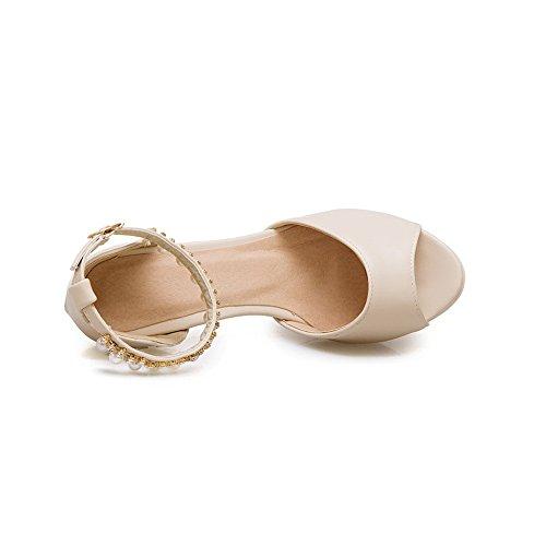 BalaMasa Womens Rhinestones Metal Buckles Urethane Heeled Sandals ASL04233 Beige vCSFbj3Ja