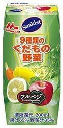 森永乳業 サンキスト100% 9種類のくだもの野菜(プリズマ容器) 200ml紙パック×24本入
