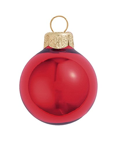 28ct Shiny Red Xmas Glass Ball Christmas Ornaments 2'' (50mm) by Whitehurst