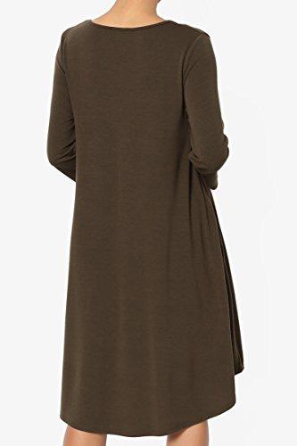 3 Dress 4 Olive Loose Trapeze Jersey Basic 3 4 T Shirt Knit TheMogan Sleeve Pocket ITtPqTx
