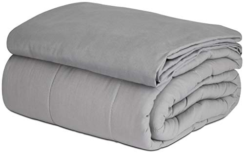 SAFR Weighted Blanket & Removable Cover, 15 lbs, Grey Cooling