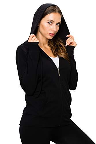 EttelLut Cute Thin Lightweight Full Zip up Hoodie Jacket for Women Black L