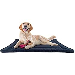 PETMAKER Waterproof Dog Crate Pad- 38.75 x 25 Water Repelling Kennel Bed, Raised Edge, Easy-to-Clean Multi-Purpose Mat for Home & Car Travel (Navy)