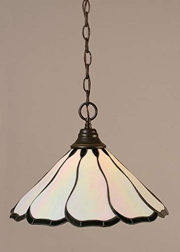 - Toltec Lighting 10-DG-912 Hung - One Light Chain Pendant, Dark Granite Finish with Pearl Flair Tiffany Glass