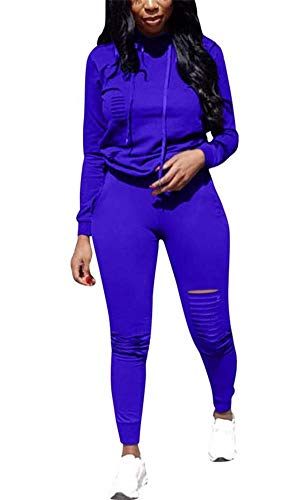 (LKOUS Womens 2 Pieces Outfits Long Sleeve Ripped Hooded Sweatshirt Shirt Tops and Bodycon Long Pants Tracksuit Set Plus Size)