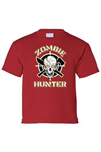 Impress For Less USA Kids Tee Zombie Hunter Short Sleeve T-Shirt Red -