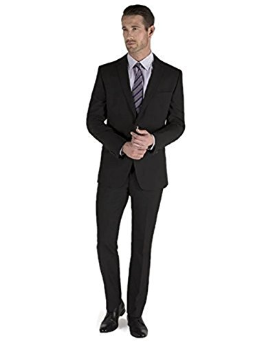 Men's 2 Piece Black Elegant Single Breasted 2 Button Suit (36 Short)