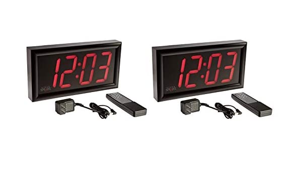 School Smart LED Clock with Remote Control, High Visibility, 7 x 13 Inches (Pack of 2)