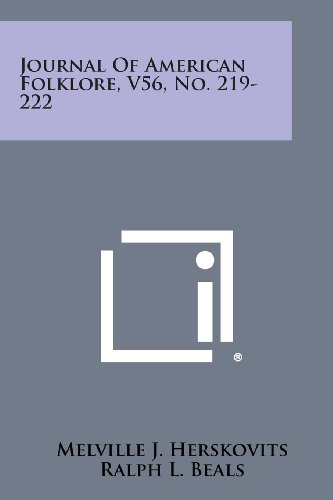 Journal of American Folklore, V56, No. 219-222