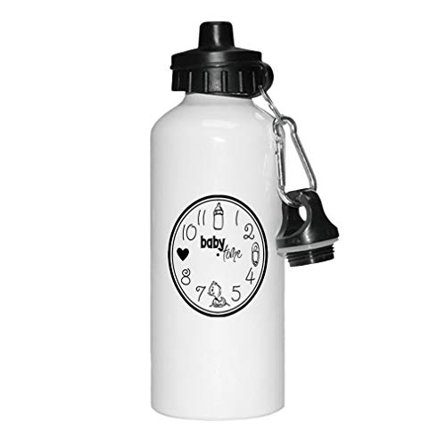 Style In Print Black Baby Clock Feed Cnahge Bath Love Baby Time Aluminun White Water Bottle