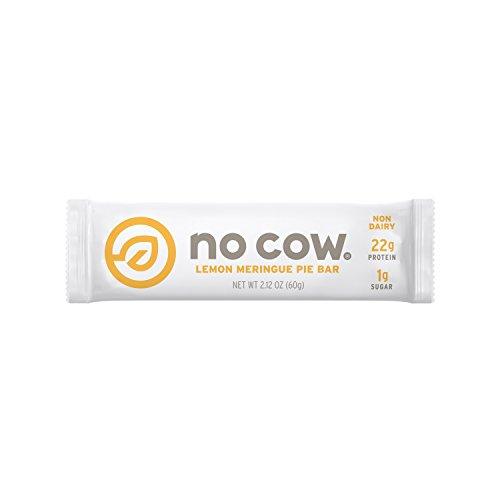 No Cow Protein Bar, Lemon Meringue Pie, 22g Plant Based Protein, Low Sugar, Dairy Free, Gluten Free, Vegan, 12 Count (Natural Lemon)