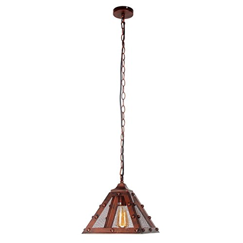 Maison 6 Light (Lighting Rising 1-Light Mini Chandelier Pyramid Shaped Bronze Shade Pendant Ceiling Lamp Vintage Style Light with 39 Inch Adjustable Chain)