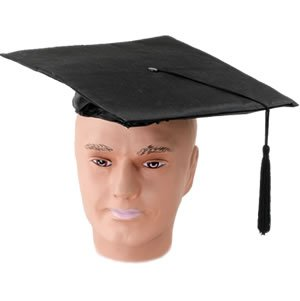[Black Adults Pvc Mortar Board Hat] (Board Game Characters Costumes)