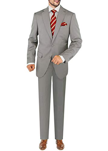 DTI GV Executive Men's 2 Button Italian Wool Suit Set Faint Herringbone 2 Piece (42 Regular US / 52R EU/W 36